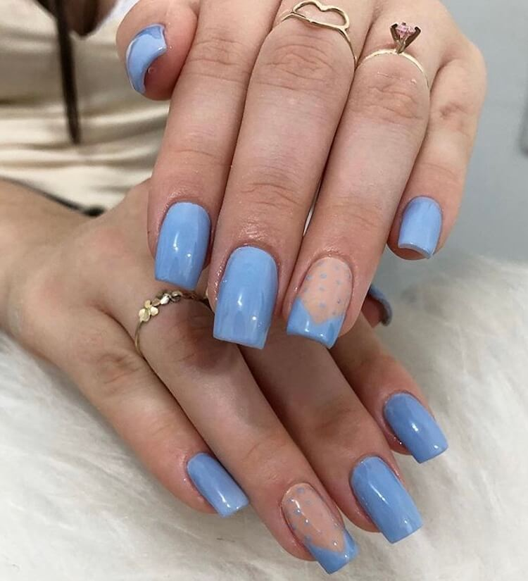 Are you looking for the best acrylic nail color for summer 2020? Check out these 22 popular nail ideas we have prepared for you. They include blue with different levels of brightness, simple white nails, coral red, nude, yellow, and light purple. These ideas are well worth trying! #nails #summernails #simplenails #acrylicnails