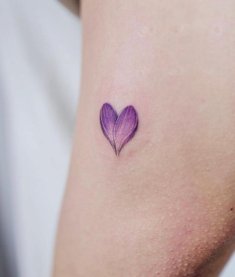 Purple Petal Love Heart Small Tattoo Ideas For Women