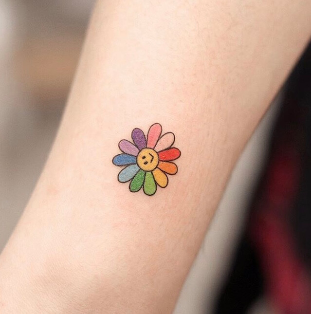 Colorful Cute Flowers Small Tattoo Ideas For Women