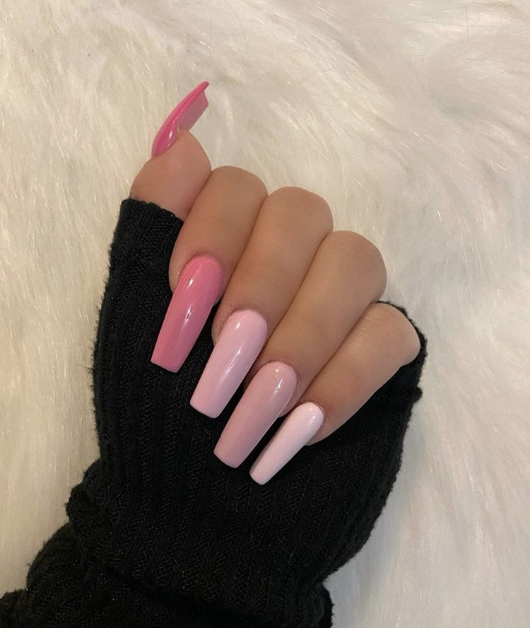 Different kinds of pink long acrylic coffin nails