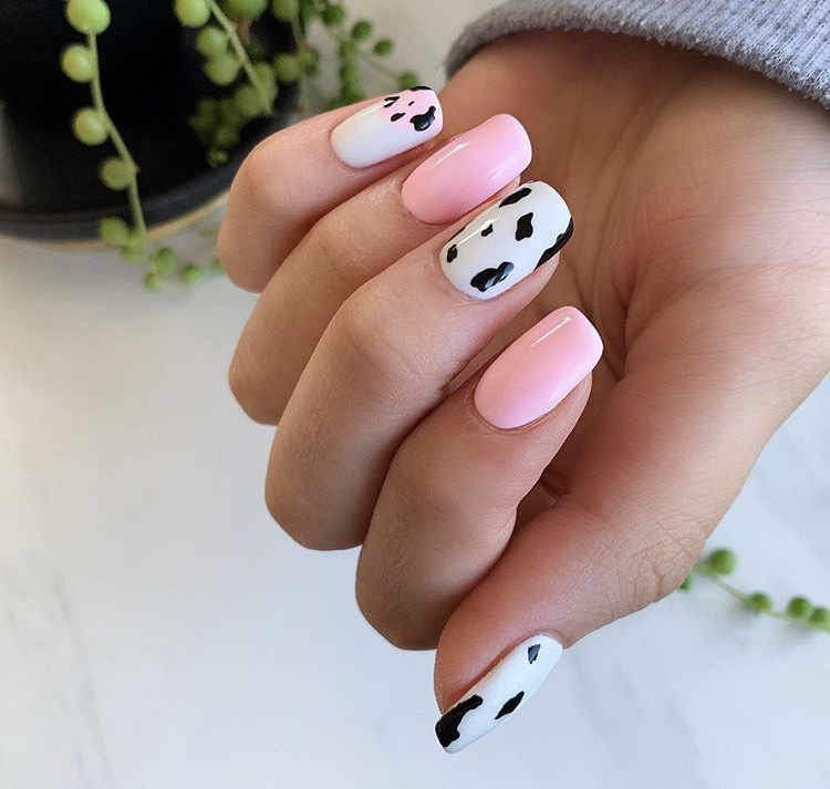 Light pink and white creative acrylic nails