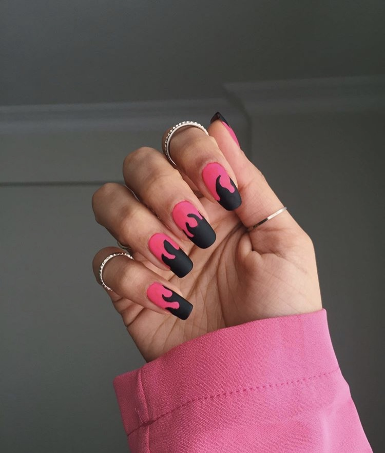 Pink red and black fire long acrylic matte nails