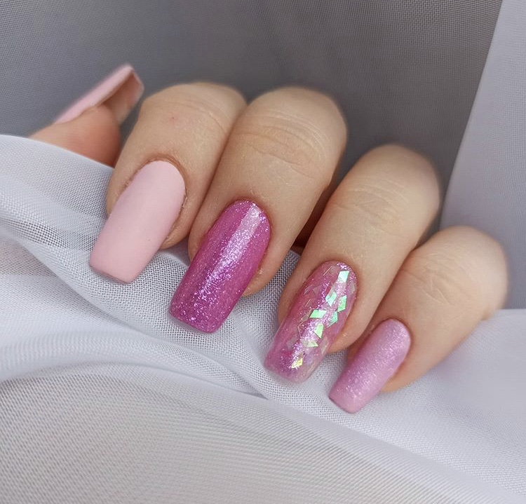 Pink sequin long acrylic nails