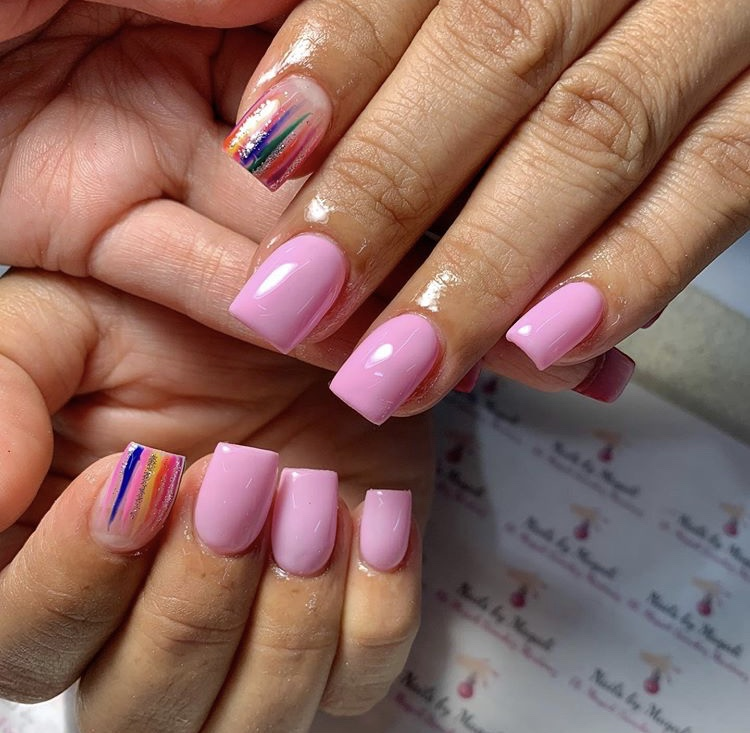 Pink and transparent rainbow gel short nails