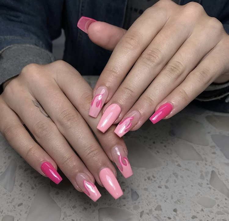 Tender pink fire long acrylic nails