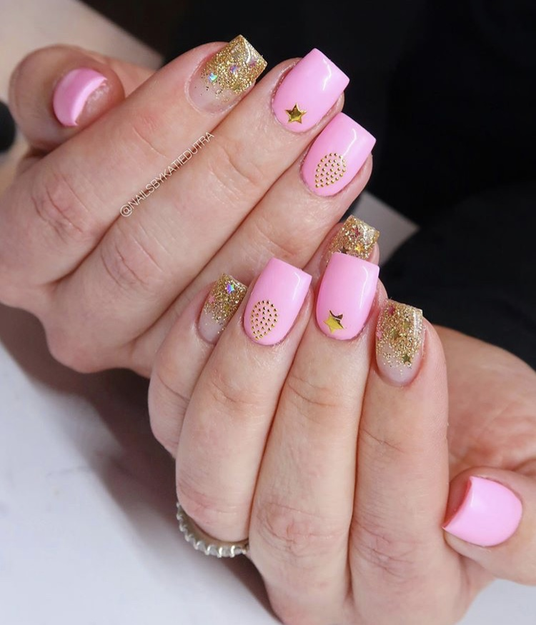 Pink and gold short square nails
