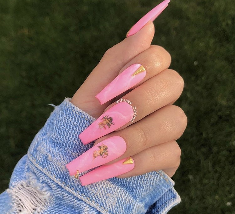 Pink matte marble long acrylic coffin nails