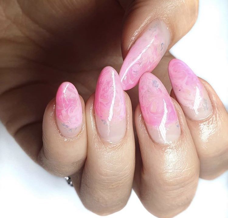Pink and white ombre marble nails