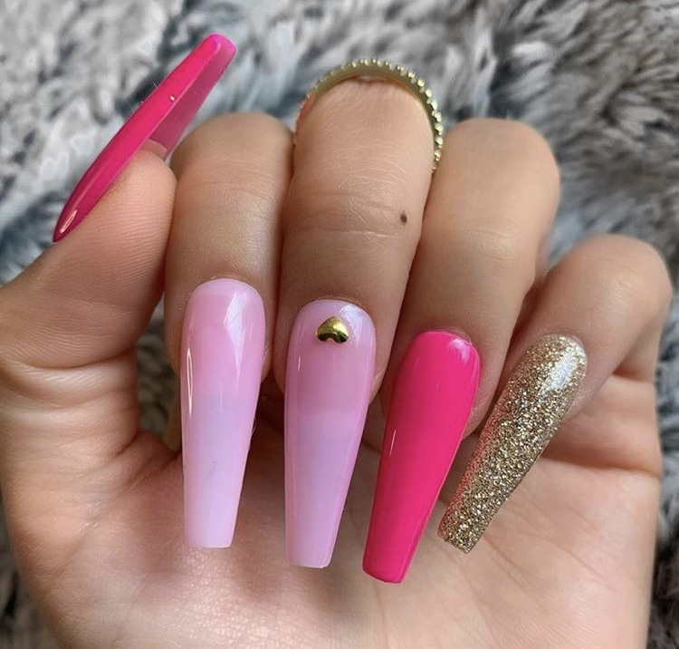 Baby pink, pink red and shiny golden long acrylic coffin nails