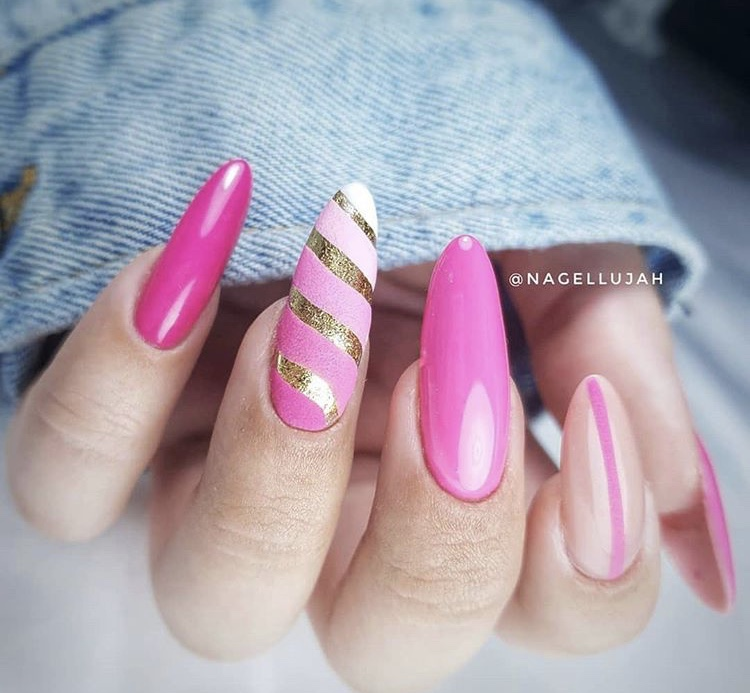Pink red with gold line creative long nails