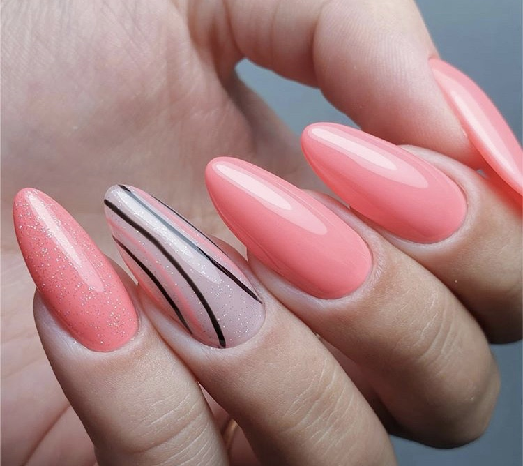 Coral pink and transparent shiny long nails