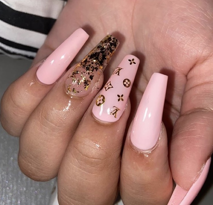 Tender pink and transparent gold foil long acrylic coffin nails