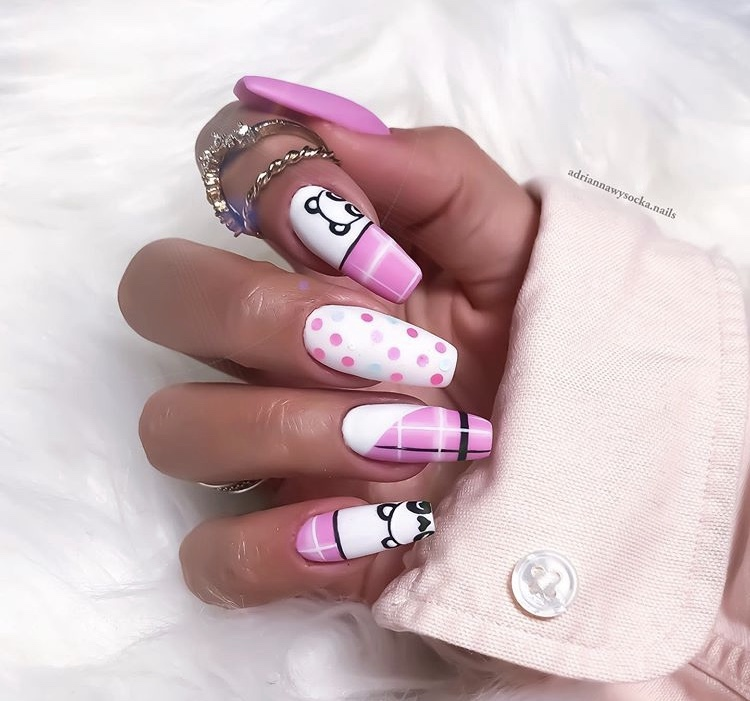 Creative pink and white hand painted long acrylic nails
