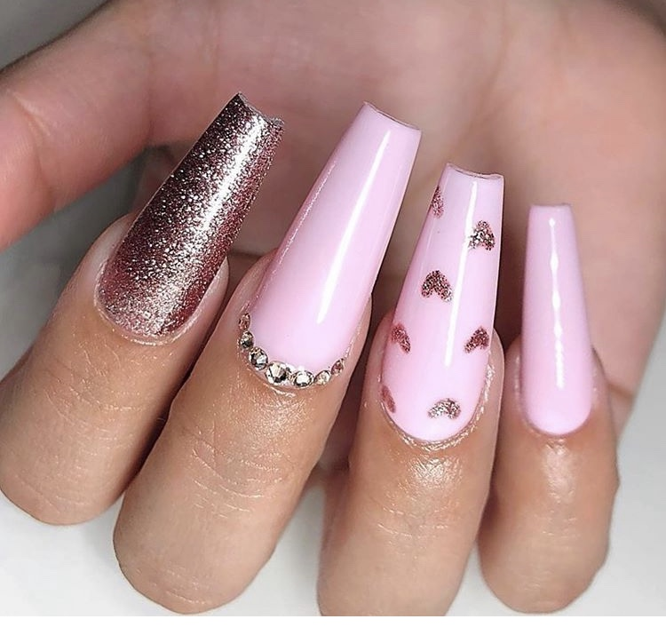 Pink and golden acrylic long nails