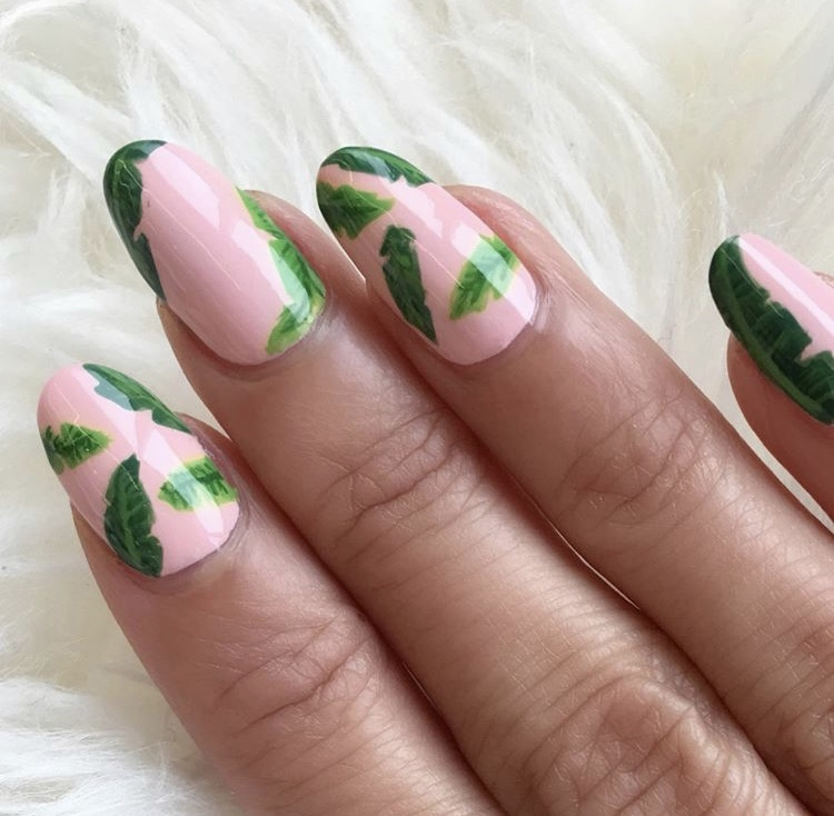 Pink and green plants nails