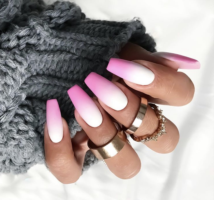 Pink and white ombre matte Nails