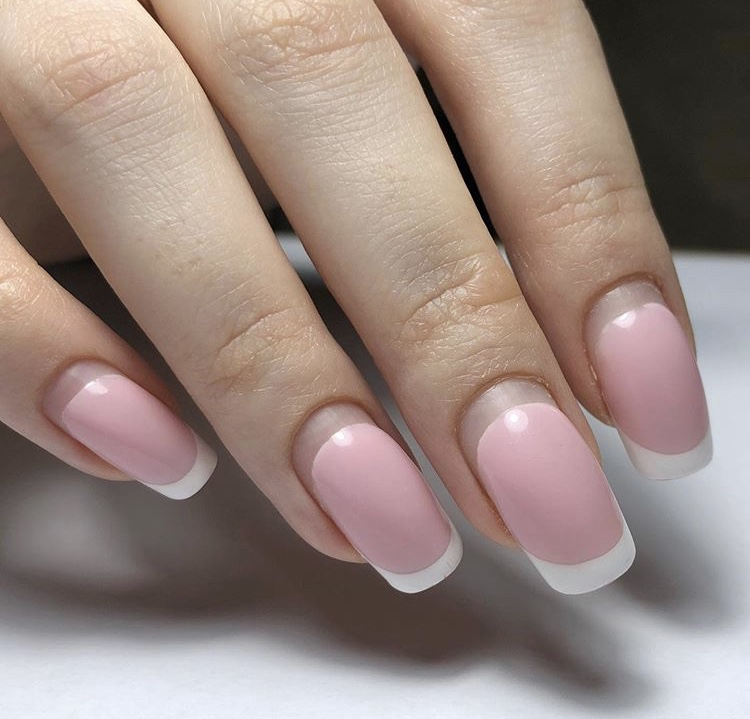 Creative French Pink Nails With White Nail Tips