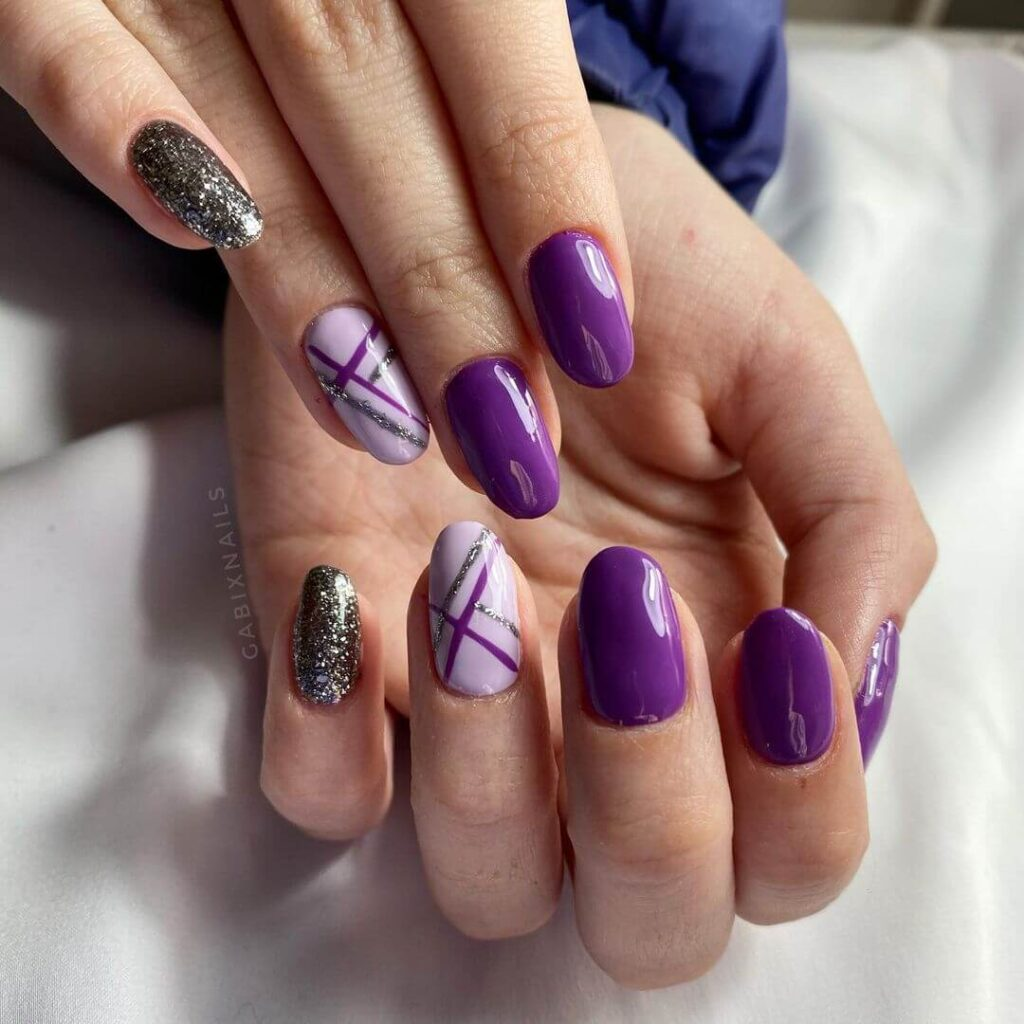 Purple almond nails