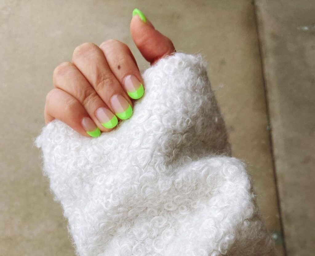 Fluorescent Green Almond Nails