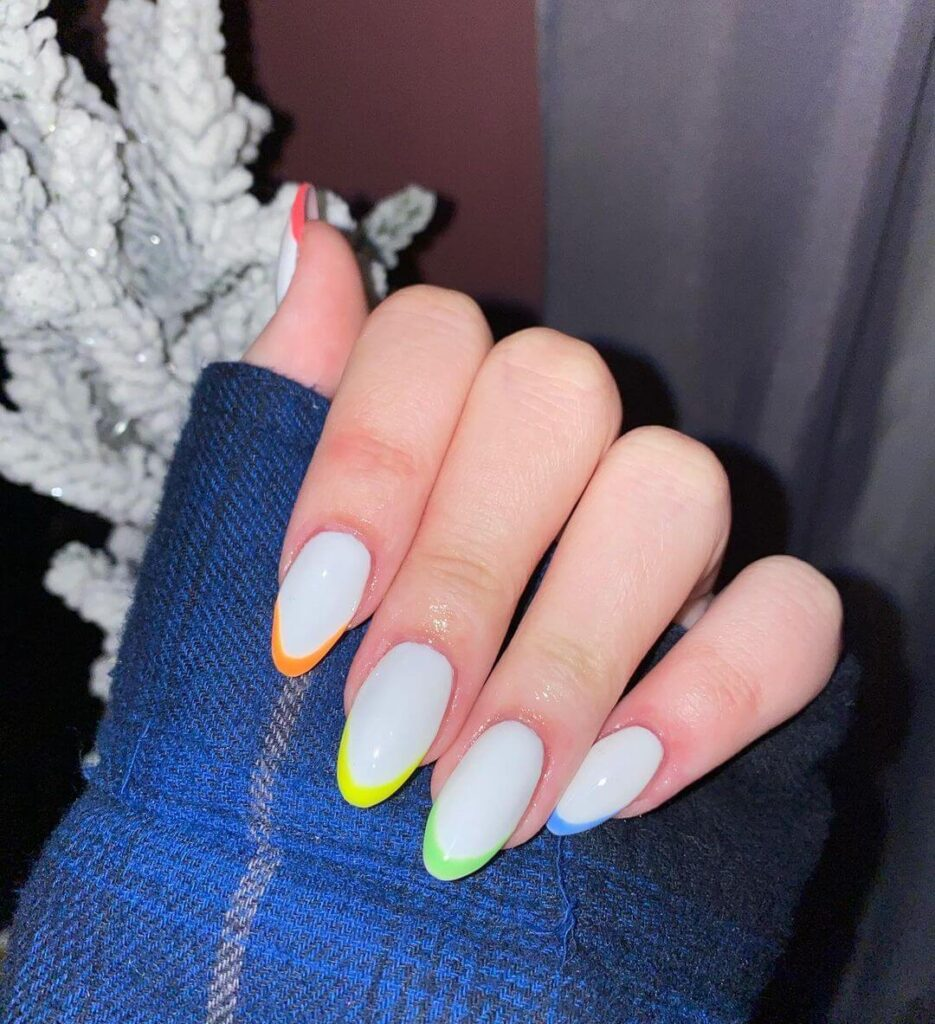 Rainbow Almond Nails