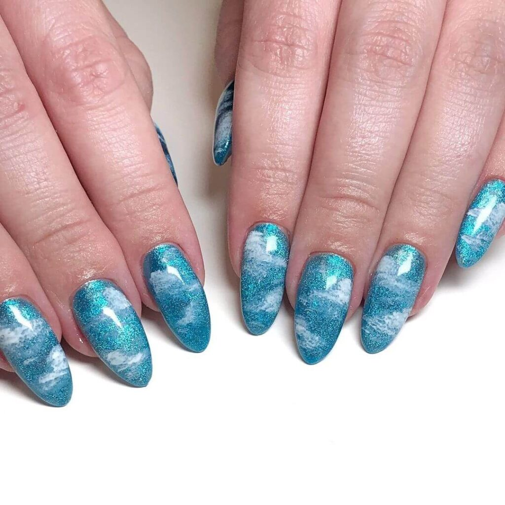 Sky blue empty almond nails