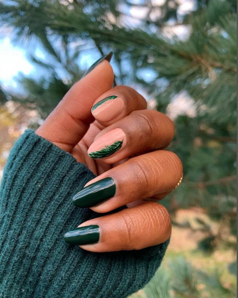 Green natural almond nails