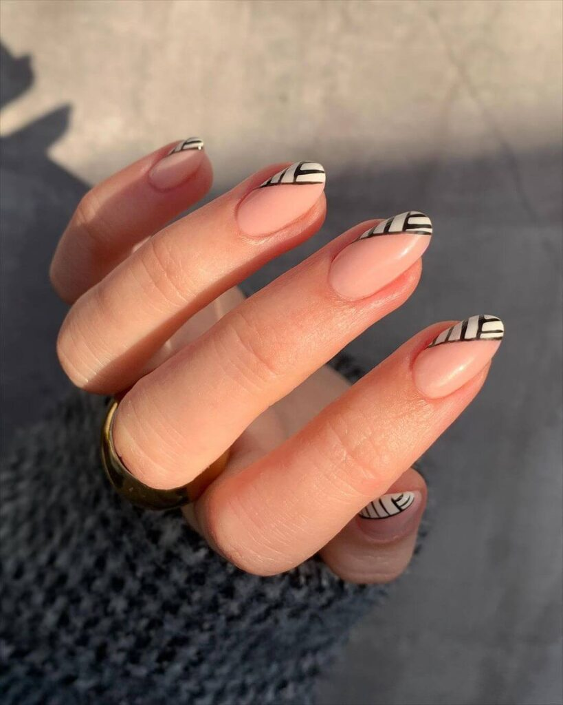 Zebra almond nails
