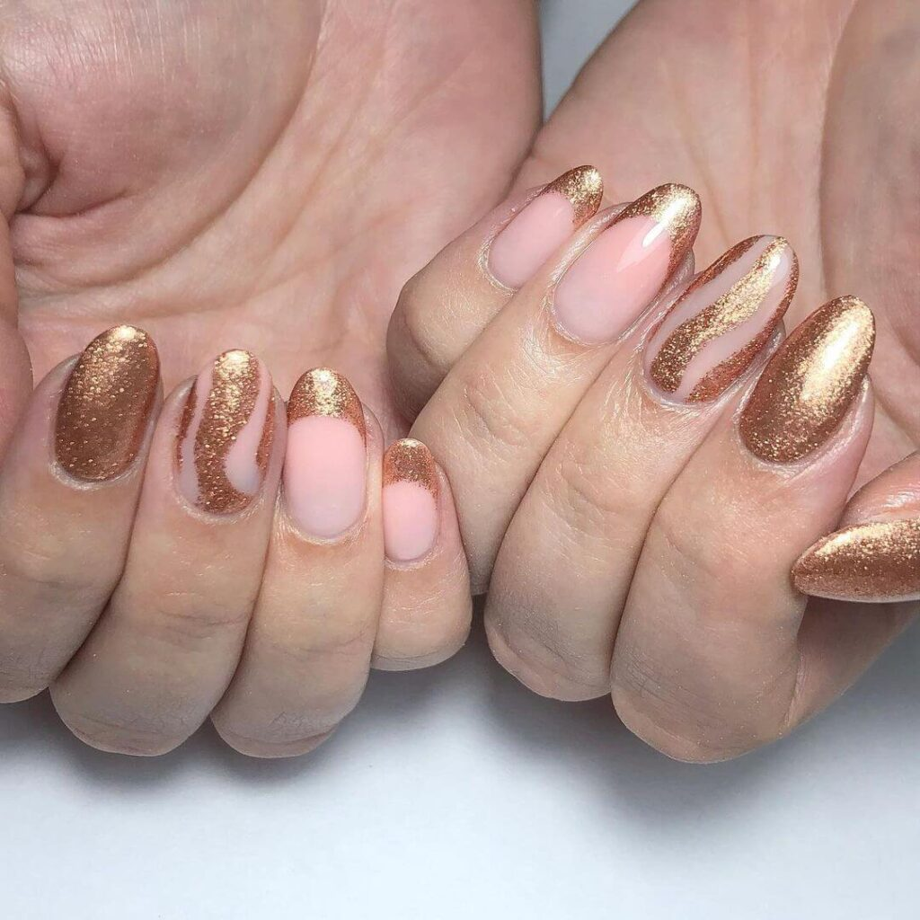 Golden short almond nails