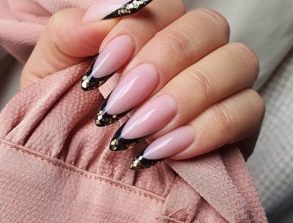 Black tips almond nails