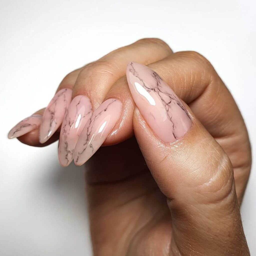 Simple marble almond nails