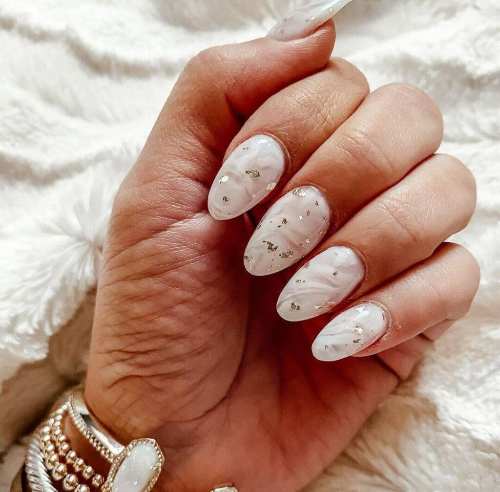 Milky white almond nails