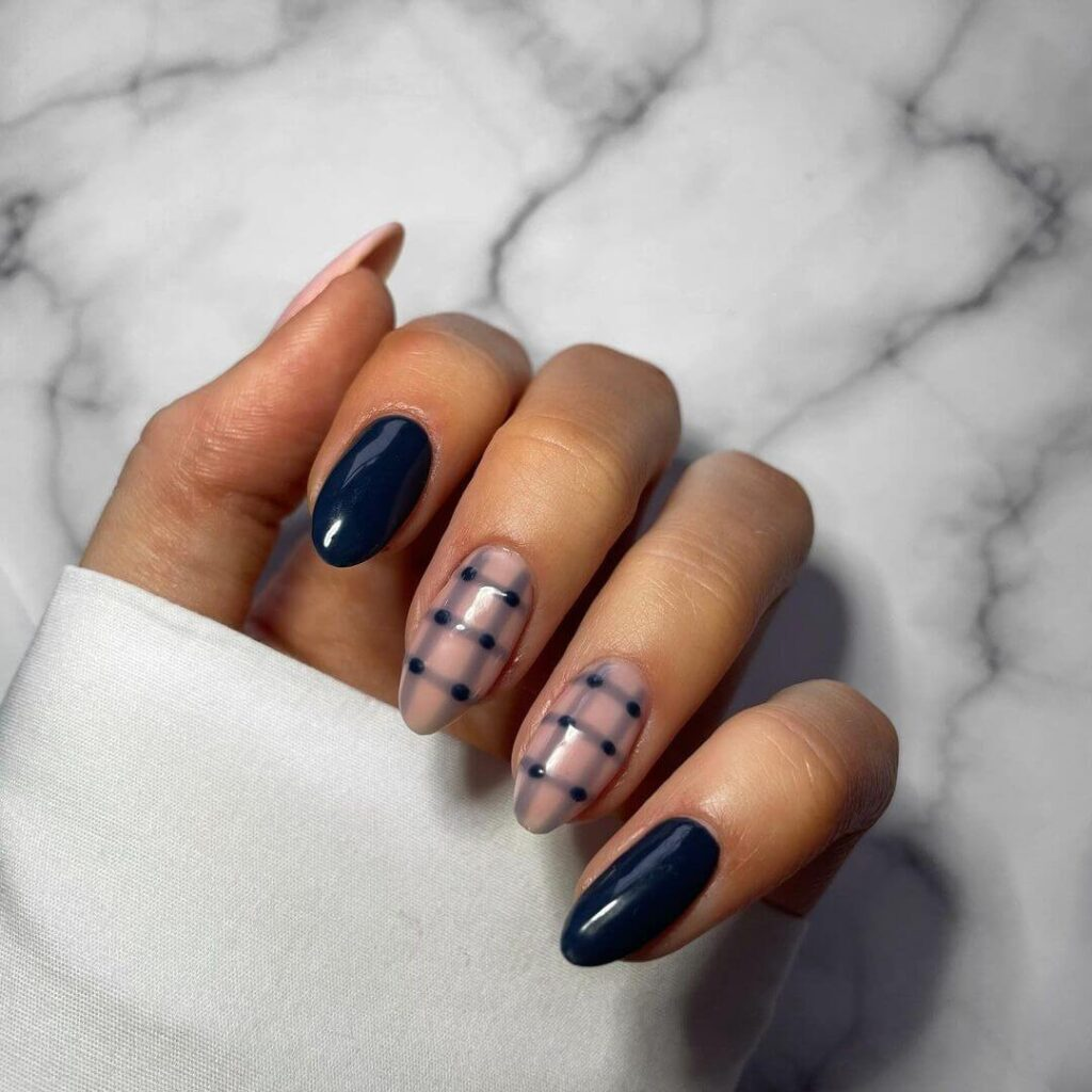 Blue Plaid Almond Nails