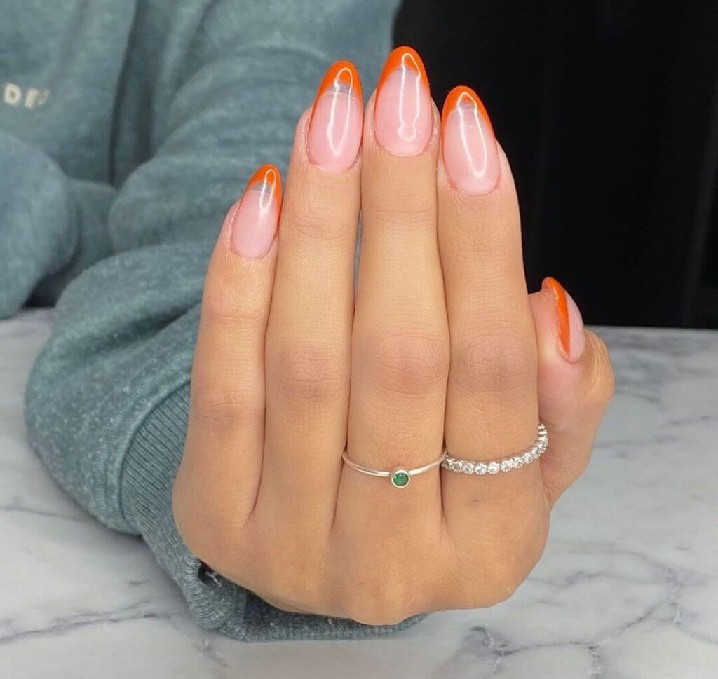 Orange almond nails