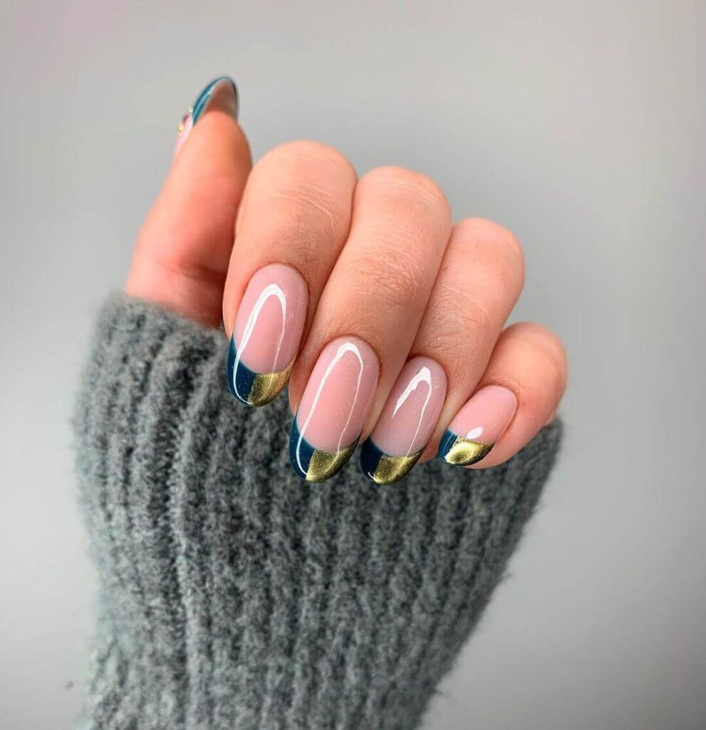 Half gold French almond nails