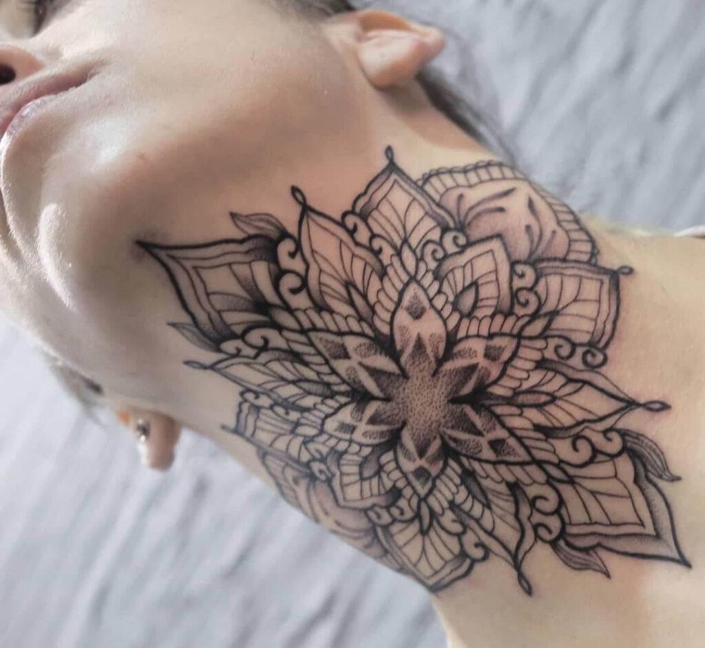 Mandala Neck Tattoo