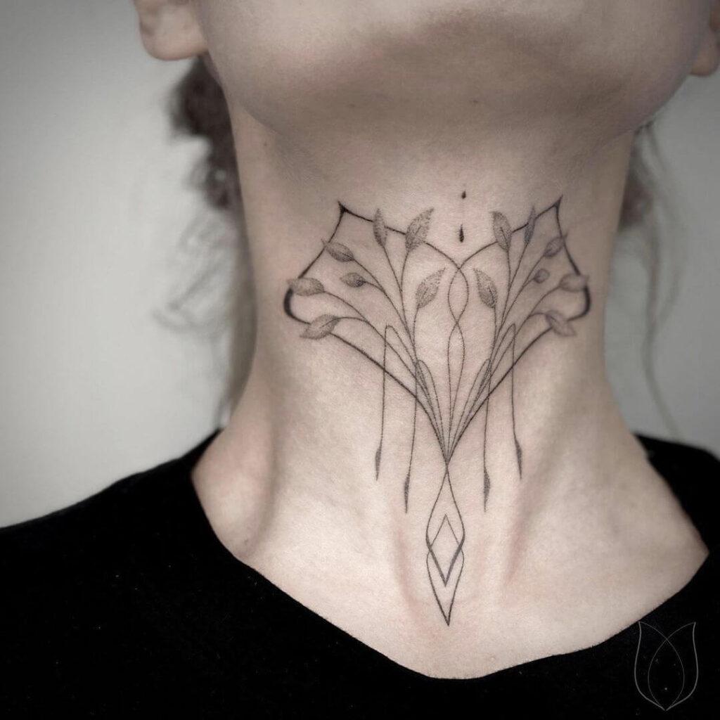 Fine line neck tattoo