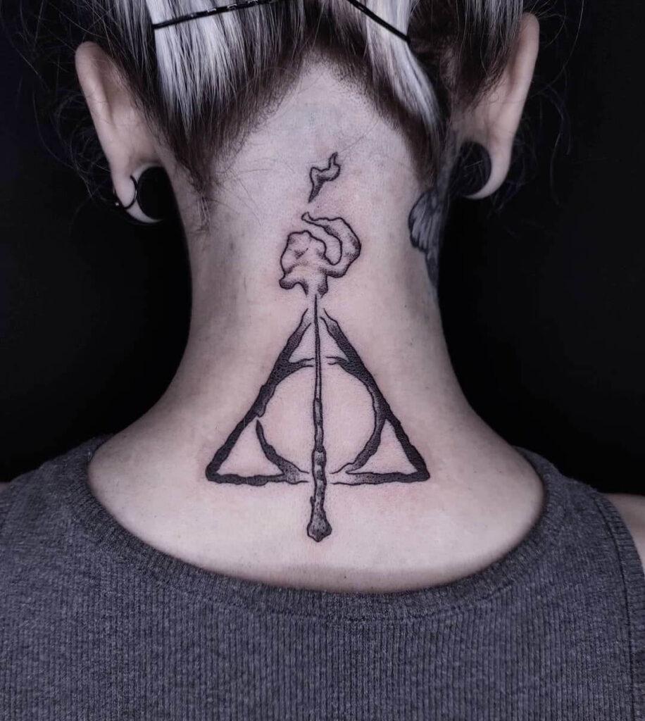 Creative magician neck tattoo