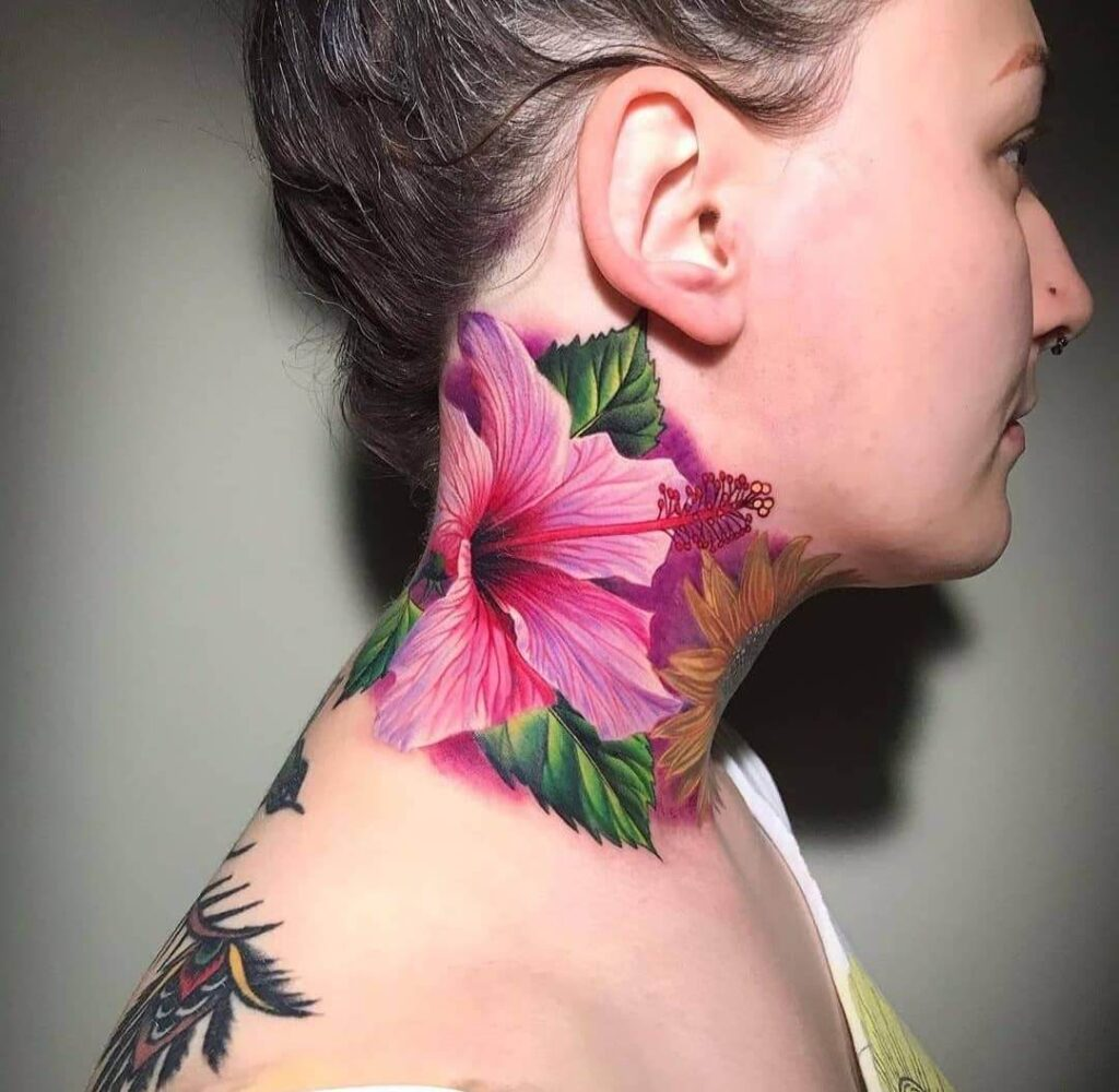 Color flower neck tattoo