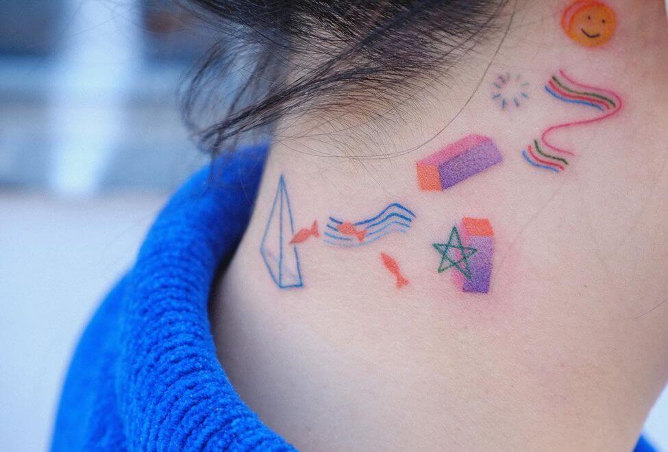 Color Neck Small Tattoo
