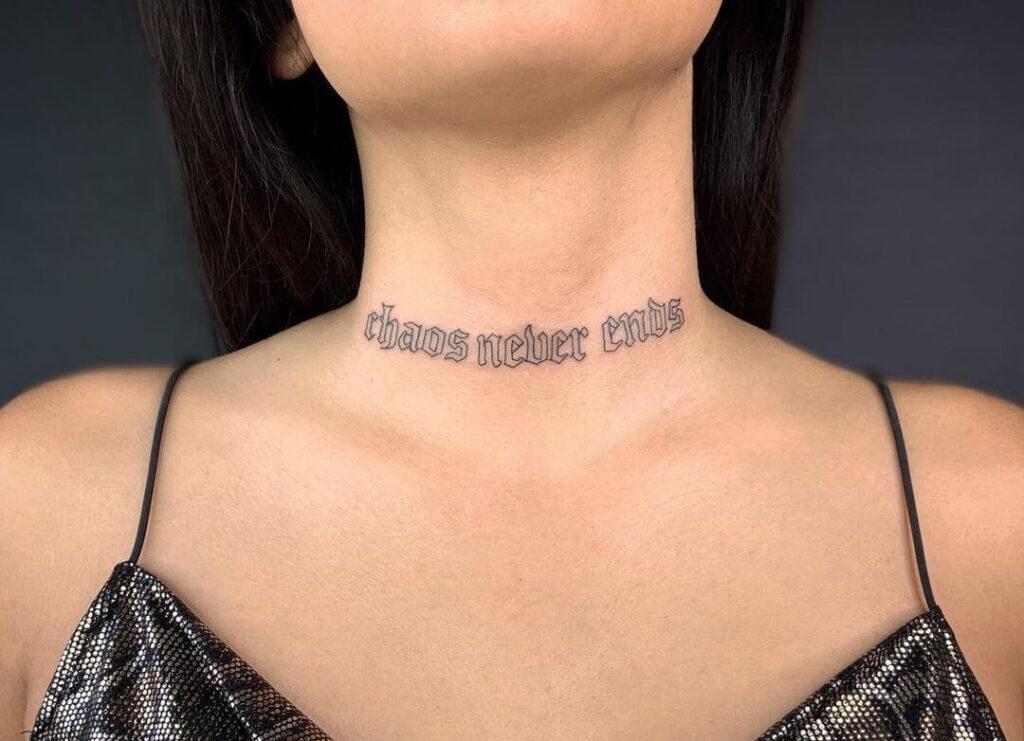 Letter Neck Tattoo