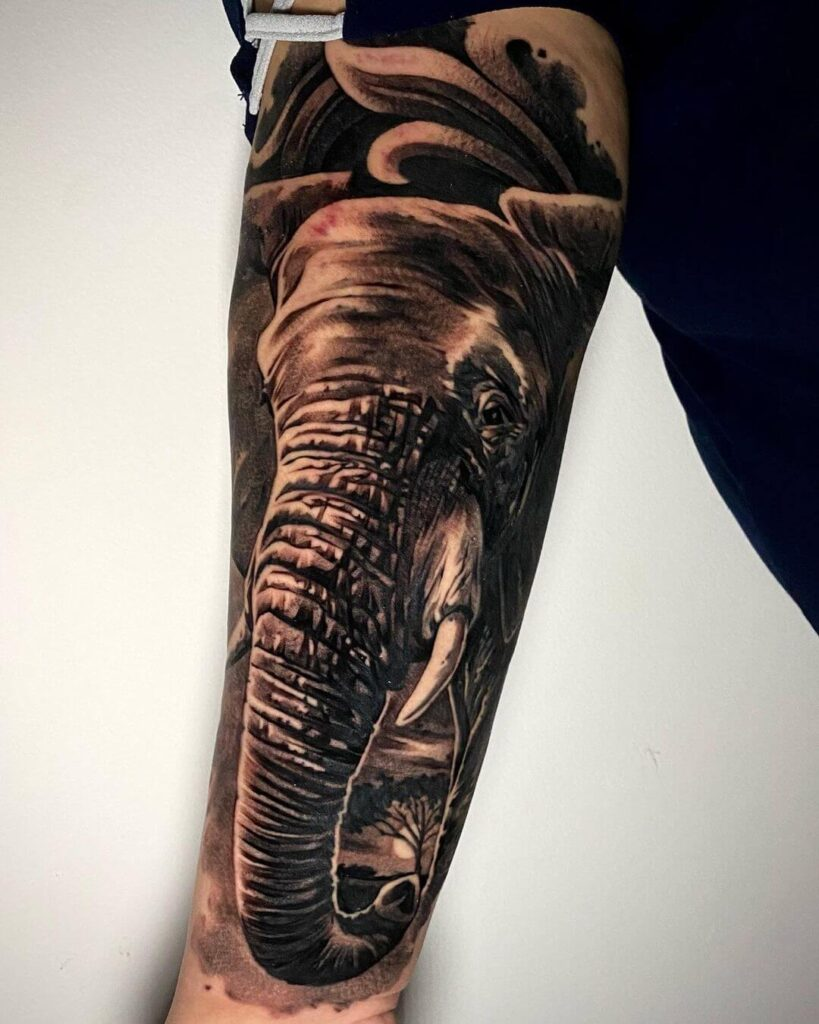 Elephant sleeve tattoo