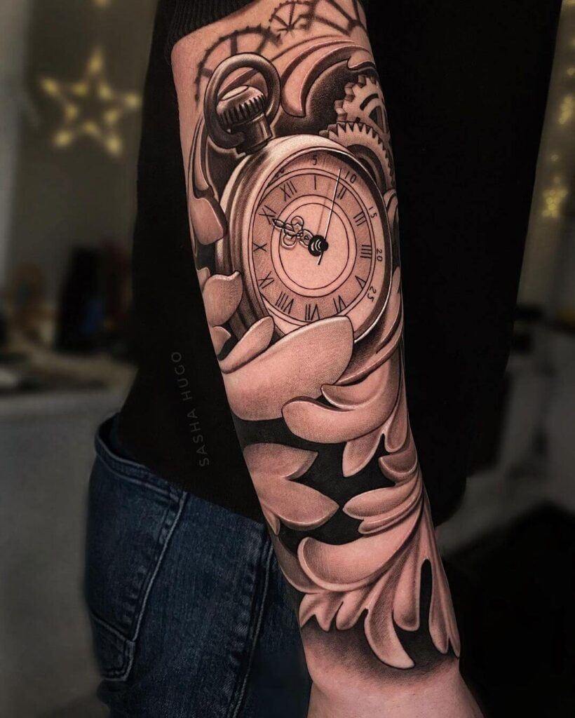 Clock sleeve tattoo