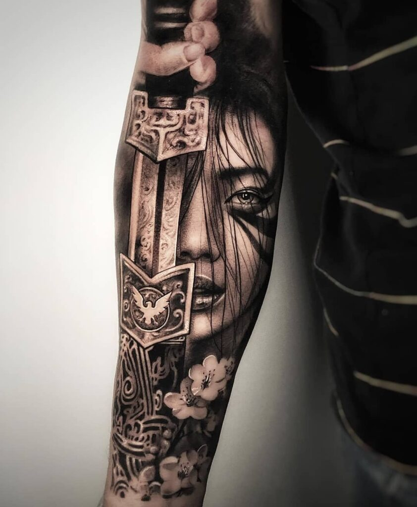 Mulan sleeve tattoo