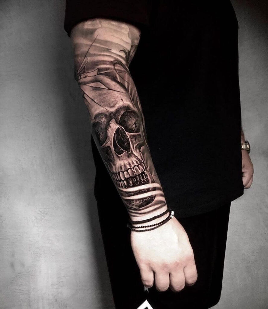 Skull sleeve tattoo