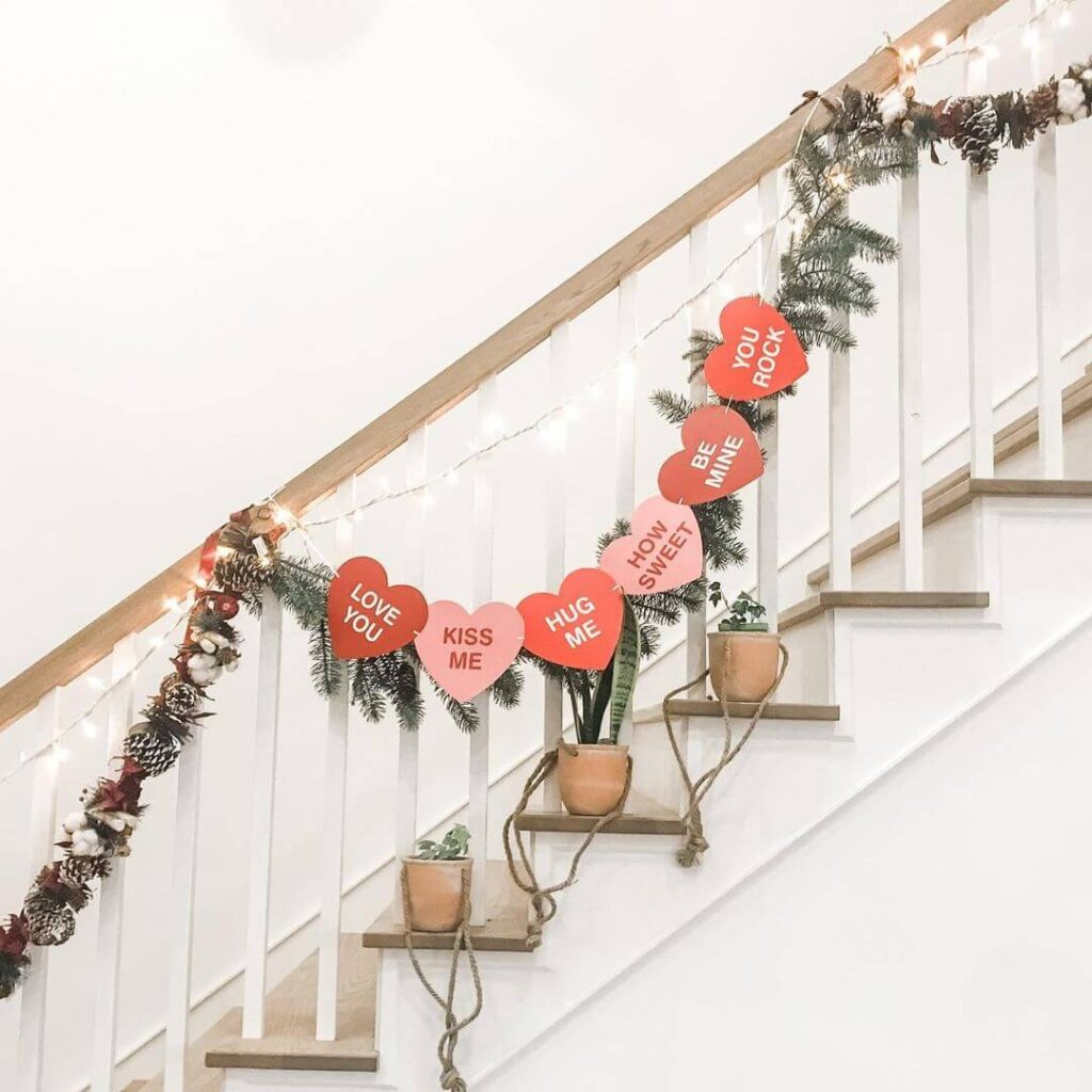 Valentine's Day Stairs decor