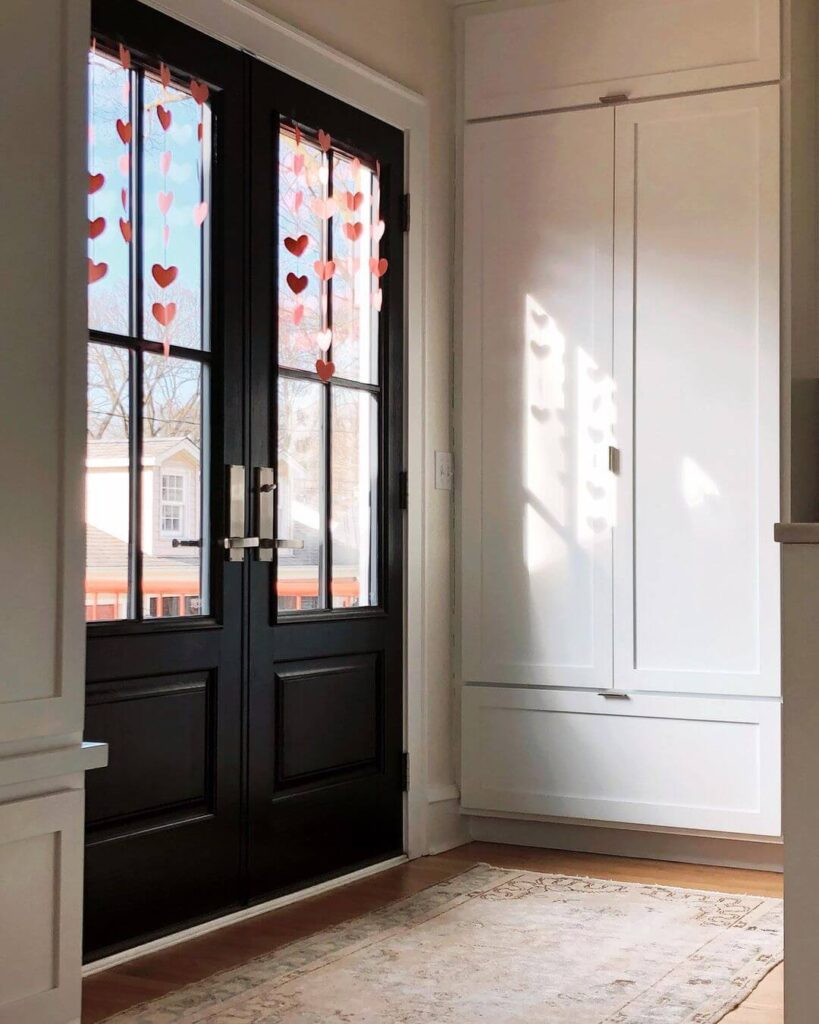 Valentine's day entrance door decor