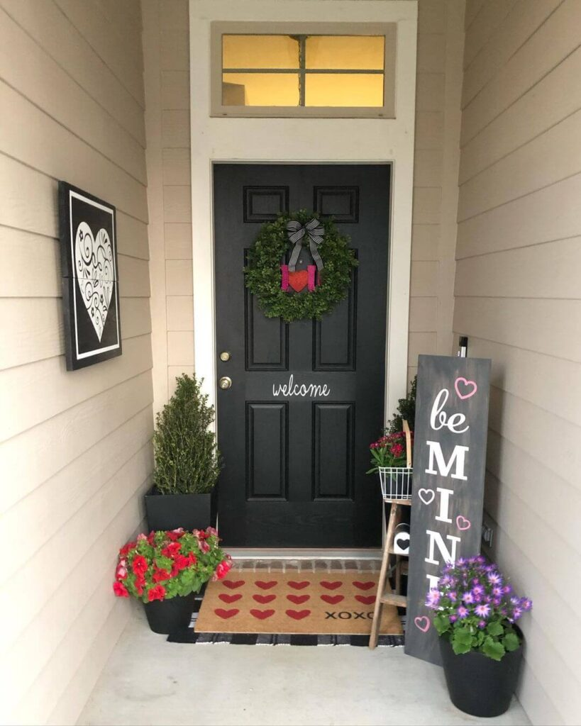 Beautiful Valentine's Day porch decor
