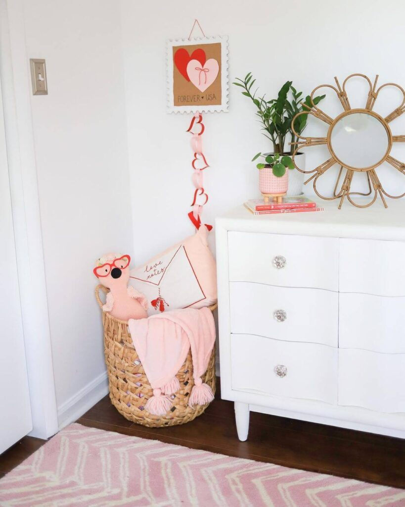 Valentine's day room corner decor