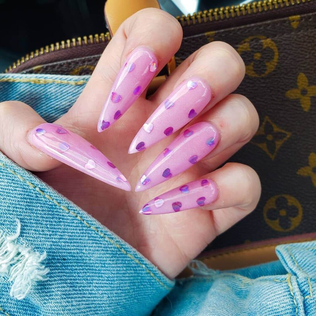 Purple long spiked Valentine's Day nails