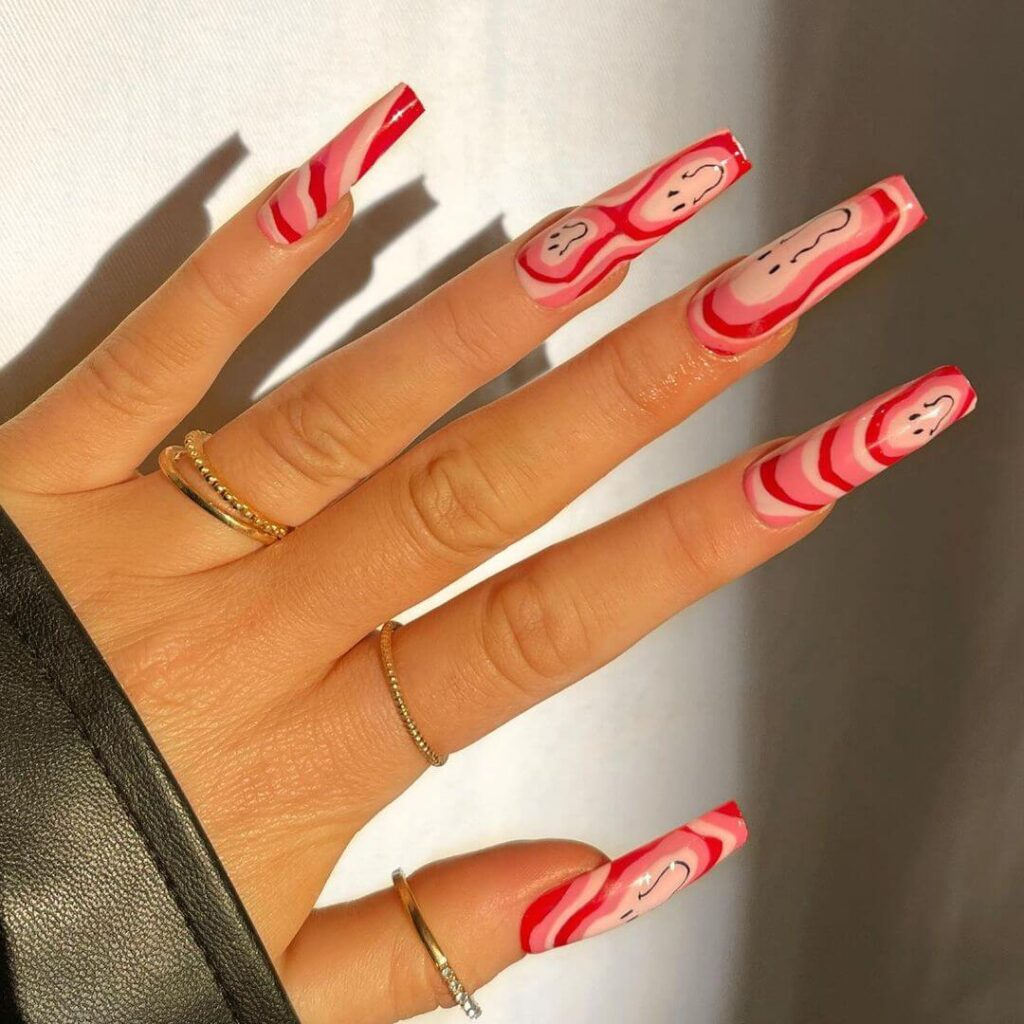 Smiley long acrylic Valentine's Day Nails
